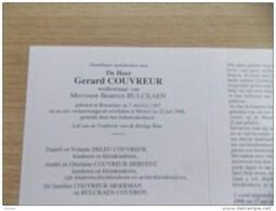 Doodsprentje Gerard Couvreur Roeselare 7/10/1907 Menen 22/7/1998 ( Beatrice Bulckaen ) - Religion & Esotérisme