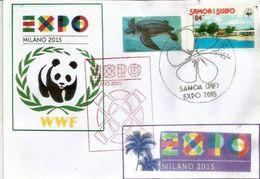 SAMOA EXPO UNIVERSELLE MILAN 2015 Lettre Du Pavillon SAMOA à L'EXPO MILAN, Avec Timbre WWF SAMOA - Tartarughe