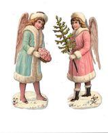 Lot De 2 Découpis, Petites Filles Anges, Sapin, - Angels