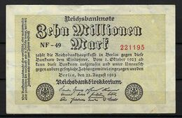 ALLEMAGNE 1923:  Billet De 10 Mo. De Mark De La Reichsbank, Bon état - [ 3] 1918-1933: Weimarrepubliek