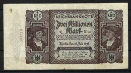 ALLEMAGNE 1923:  Billet De 2 Mo. De Mark De La Reichsbank, Bon état - 2 Millionen Mark