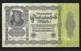 ALLEMAGNE 1923:  Billet De 50'000 Mark De La Reichsbank, Assez Bon état - [ 3] 1918-1933 : Repubblica  Di Weimar