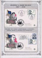 FRANCE -  2 ENV  ANDRE MALRAUX OBLI ANDRE MALRAUX PARIS 23.11.96 + TRANSFERT DES CENDRES AU PANTHEON SEANCE SOLENNELLE - Guerre Mondiale (Seconde)