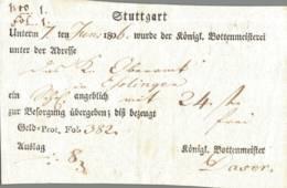 1806 Stuttgart Postschein Königl. Bottenmeister - [1] Prephilately