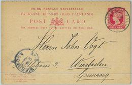 BK0423 - FALKLAND - Postal History - DOUBLE  Stationery Card To GERMANY  1895 - Falkland