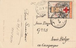"Kaart Sandrigo (Italië) 1917 Naar Belg Legerpost 7, Afgestempeld Rood Kruis Etiket ""Pro Corce Rossa"" - Esercito Belga"