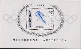 Liberia 1956 Olympics Sheet Sc C106 Mint Never Hinged (missing Red) - Liberia