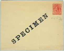 BK0424 - FALKLAND - Postal History - STATIONERY COVER H & G# 2 Overprinted SPECIMEN - Falkland