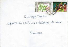 Envelope From Cabo Verde To Portugal , 1995 , Espargos Postmark , Plantas Medicinais And Alfabetização Stamps - Cape Verde