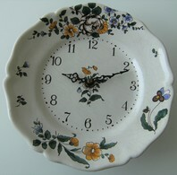 Horloge Murale Céramique Craquelée Bouc Céram Junghans Diehl Ato Fonctionne - Wandklokken