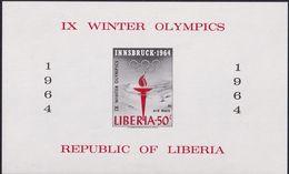 Liberia 1963 Winter Olympics Sheet Imperf Sc C159 Mint Never Hinged - Liberia