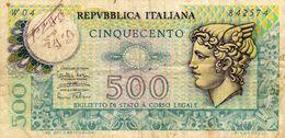 Republica Italiana 500 Lire  Cinquecento - 14-2-1974 - W 04 842574 - [ 2] 1946-… : République