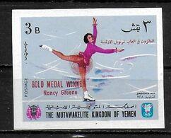 YEMEN       N°   * *  SURCHARGE NON DENTELE   Jo  1968  Patinage Nancy Greene - Figure Skating