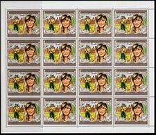 GUINEA BISSAU 1982 Crocket Diana Royal Baby William 5P OVPT.COMPLETE SHEET:16 Stamps - Stamps