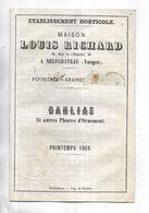 Catalogue Publicitaire Des Ets Louis RICHARD à NEUFCHATEAU - Dahlias Et Autres Planres D' Ornement - Printemps 1869 - Frankreich