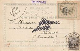 "Iran / Persia Typeset-Ausgabe + 2ch ""CONTROLE"" Postcard Postal Tax On Ppc  Teheran !! Rare Item - Irán"