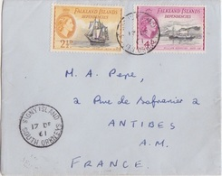 Lettre Des Falkland Dependencies N° 55, 57 (Penola, Scoresby), Obl. Signy Is. Le 17 DE 61 - Falkland