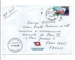 NORVEGE SEUL SUR LETTRE DU CAP NORD PAR NAVIRE M/S KONGOLAV POUR LA FRANCE 1995 - Norwegen
