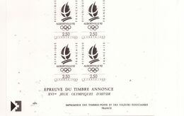 """PIA  - FRAN - 1990 : Prova Di Stampa Del Francobollo """"Giochi Olimpici Invernali"""" Ad Albertville - (Yv  2632x4) - Blocs & Feuillets"""