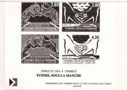 """PIA  - FRAN - 1990 : Prova Di Stampa Della Serie """"inaugurazione Del Tunnel Sotto La Manica"""" - (Yv  2880-83) - Blocs & Feuillets"""