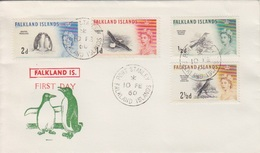 FDC Des Falkland N° 122 à 125 (Grive, Mouette, Manchot, Etourneau), Obl. 1°Jour Port Stanley Le 10 FE 60 - Falkland