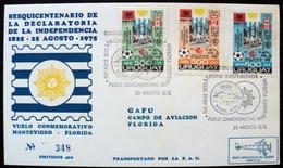 1975 URUGUAY V122c FLIGHT COVER VUELO VOL MONTEVIDEO-FLORIDA Piedra Alta INDEPENDENCE AVIACION AIRCRAFT OLYMPIC GAMES - Uruguay