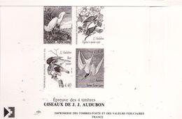 "PIA  - FRAN - 1995 : Prova Di Stampa Della Serie ""Arte Decorativa - Uccelli Di J.J. Audubon"" - (Yv  2929-32) - Blocs & Feuillets"