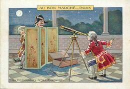 A354- Chromo -16,5x11,5cms -magasin Au Bon Marché -paris - Petits Savants -astronomie - L Astronome - - Au Bon Marché