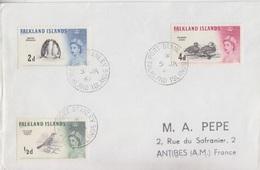 Lettre Des Falkland N° 122, 124, 127 (Grive, Manchot, Canard), Obl. Port Stanley Le 5 JA 62 - Falkland