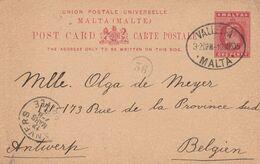 Malte Entier Postal Pour La Belgique 1905 - Malta