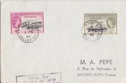 2 Lettres Des Falkland Dependencies N° 51, 52, 53, 57 (Navires), Obl. Base Z Halley Bay Le 1 FE 62 + Coordonnées Halley - Falkland