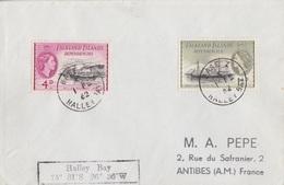 Lettre Des Falkland Dependencies N° 53, 57 (Navires), Obl. Base Z Halley Bay Le 1 FE 62 + Coordonnées Halley-Bay - Falkland