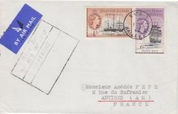 Lettre Des Falkland Dependencies N° 58, 60 (Navires), Obl. Base Z Halley Bay Le 1 FE 62 + Coordonnées Halley-Bay - Falkland