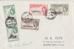Lettre Des Falkland Dependencies N° 51 X 2, 52, 53, 54 (Navires), Obl. Argentine Is. Le 3 AP 62 + No P.O. Base T - Falkland