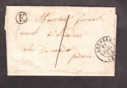 LAC - 17 Juillet 1854 - Boîte Rurale E (La Chèze ?) - Loudeac Pour Loudeac - Port Dû 1 Décime - 1849-1876: Période Classique
