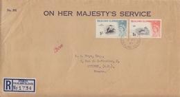 Lettre De Service Recommandée Des Falkland  N° 130, 134 (Grèbe, Cormoran), Obl. Port Stanley Le 9 MY 62 - Falkland