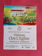 BORDEAUX ETIQUETTE CHATEAU CLOS L'EGLISE 1983 NUMEROTEE                              /13/08/20 - Bordeaux