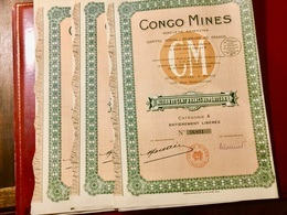 S.A.  CONGO  MINES  ------------- Lot  De  3  Actions A   De  100 Frs - Mijnen