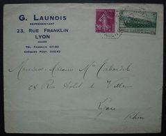 Longre Charente 12 Juillet 1937 Cachet Hexagonal Tireté, Premier Jour Du Tarif à 75c, Affranchissement à 0.50 G Launois - 1921-1960: Periodo Moderno