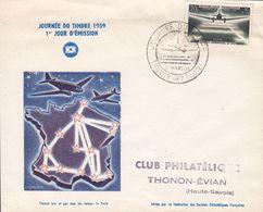 France Premier Jour Lettre FDC Cover PARIS 1959 Journee Du Timbre Tag Der Briefmarke Polychrome - FDC