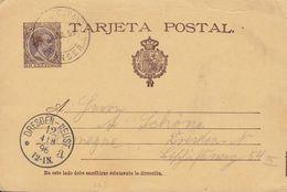 Spain UPU Postal Stationery Ganzsache Enteri Alfons XIII. P 27 I, ESPANOL? 1896 DRESDEN-NEUSTADT (Arr.) Germany - 1850-1931