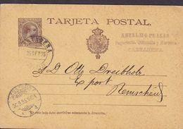 Spain UPU Postal Stationery Ganzsache Enteri Alfons XIII. ANSELMO PLEASAS, CARTAGENA 1895 REMSCHEID (Arr.) Germany - 1850-1931