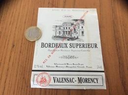Etiquette Vin 1995 « BORDEAUX SUPERIEUR - VALENSAC MORENCY - BLANQUEFORT (33)» - Bordeaux