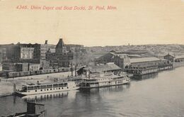ST. PAUL, Minnesota, 1911;  Union Depot And Boat Docks - St Paul
