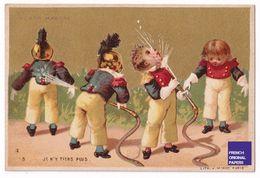 Jolie Chromo Dorée Au Bon Marché Paris 1890s Minot Soldat Du Feu Pompier Enfant - Fireman Victorian Trade Card A39-92 - Au Bon Marché