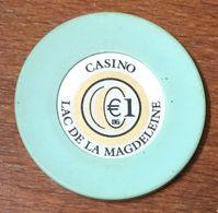 33 GUJAN-MESTRAS CASINO LAC DE LA MAGDELEINE JETON DE 1 EURO CHIP TOKEN COIN - Casino