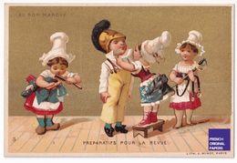 Jolie Chromo Dorée Au Bon Marché Paris 1890s Minot Préparatifs Pour La Revue Militaire Fille Pompier Sabre épée A39-93 - Au Bon Marché
