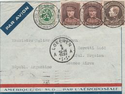 Nr 289, 321 X 2 En 283 Op Voorzijde Van LPbrief (Devant !!) Lokeren 1932 Naar Buenos Aires. - 1929-1941 Grand Montenez