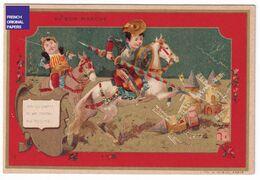 Jolie Chromo Dorée Au Bon Marché Paris 1890s Minot Don Quichotte Moulin Moyen-Age Chevalier Cheval équitation A39-94 - Au Bon Marché