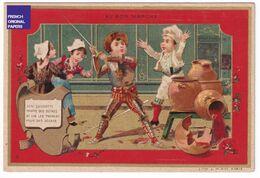 Jolie Chromo Dorée Au Bon Marché Paris 1890s Minot Don Quichotte Armure Moyen-Age Chevalier Vin Jarre épée Duel A39-95 - Au Bon Marché